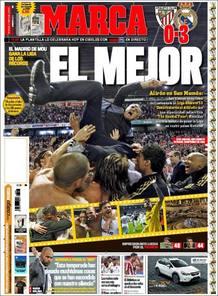 """El diario deportivo Marca titula """"El Mejor"""" con la foto de Mourinho manteado por sus jugadores al f"""