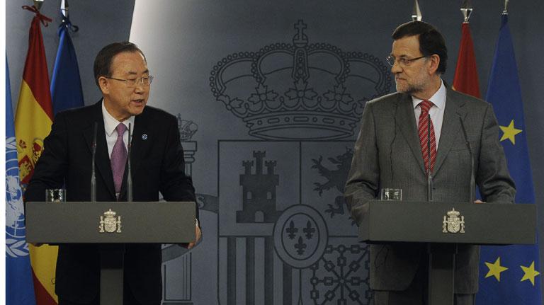 Mariano Rajoy se reúne con Ban Ki-Moon en su visita a España
