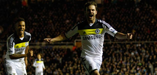 Chelsea's Mata celebrates his goal against Birmingham City during their FA Cup fifth-round replay soccer match in Birmingham