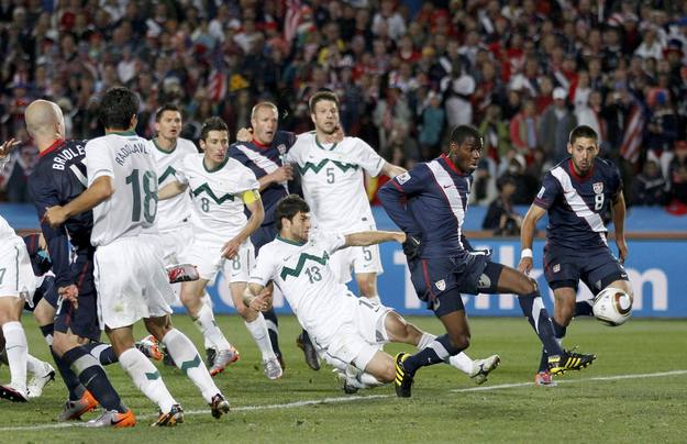Maurice Edu of the US takes a shot at a goal which was later disallowed at Ellis Park stadium