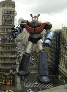 Mazinger Z en la Gran Vía. Imagen en 3D creada por José Manuel Liébana
