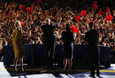 U.S. Republican presidential nominee McCain acknowledges supporters during his election night rally in Phoenix