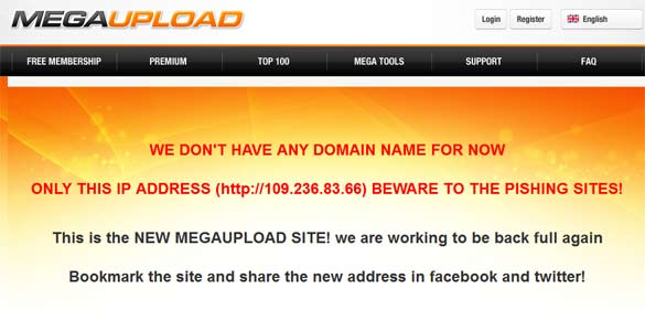 Aspecto de la página falsa que simula ser el nuevo Megaupload