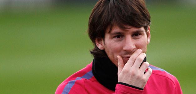 Messi, en un entrenamiento con el Barcelona.