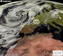 Fotografía tomada por el satélite Meteosat para la Agencia Estatal de Meteorología (AEMET) del tiempo previsto para este jueves