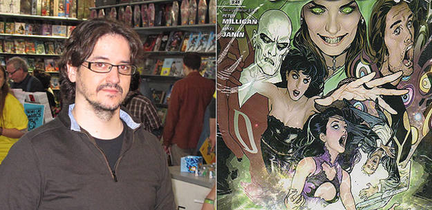 Mikel Janín en el Salón del cómic y fragmento de la portada de 'La Liga de la Justicia Oscura'
