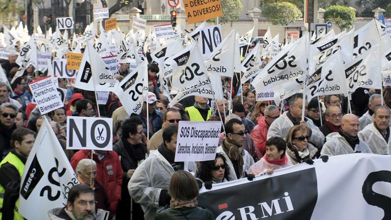 Miles de manifestantes en Madrid por los derechos de los discapacitados