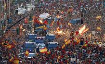 Crowds gather around the Spain's national soccer team during a celebra