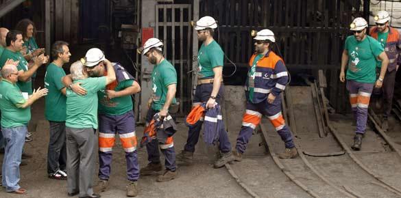 Los mineros del pozo San Nicolás (Mieres) abandonan su protesta