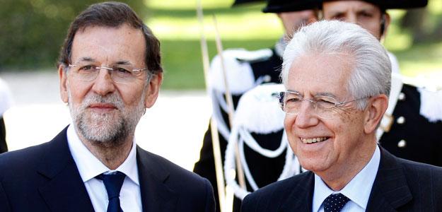 Monti recibe a Rajoy en villa Doria Pamphilj en Rome
