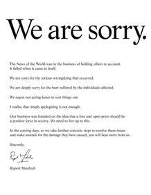 Murdoch pide disculpas en sus periódicos