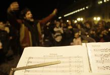 "A music sheet "" Hallelujah for the govern breakdown"" is seen in front of Presidential palace in Rome"