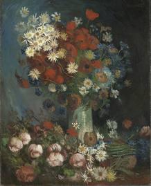 Naturaleza muerta floral con amapolas y rosas de Van Gogh
