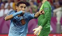 Navas celebra el gol que dio la victoria a España