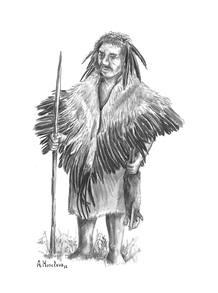 Un neandertal ataviado con plumas