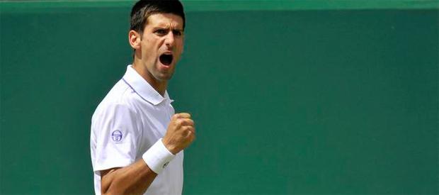 Novak Djokovic celebra un punto frente a Jo-Wilfred Tsonga
