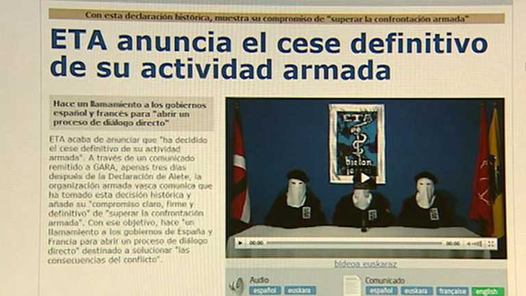 La banda ETA mantiene su decisión sobre el cese de la actividad terrorista