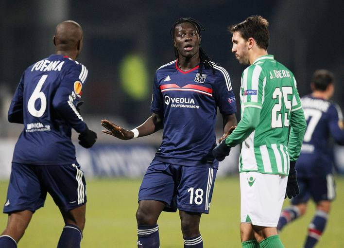 Olympique Lyon's Bafetimbi Gomis reacts after scoring against Real Betis during their Europa League soccer match at the Gerland stadium in Lyon
