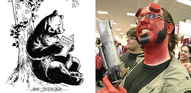 El oso y el madroño dibujados por Mark Buckingham y un aficionado disfrazado