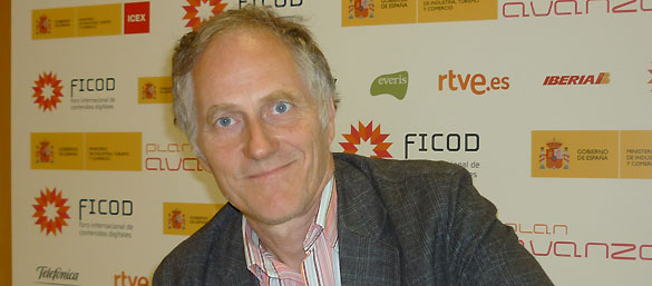 Tim O'Reilly durante la entrevista con RTVE.es tras su charla en FICOD 2011