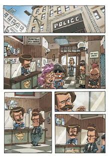 """CUL09. MADRID, 05/08/2011.- Imagen cedida por la editorial Ominiky de viñetas del cómic """"Quinto: no matarás"""", del dibujante italiano Andrea Scoppetta, quien ha compuesto una divertida historia de policías que no solo ofrece toneladas de acción, sino"""