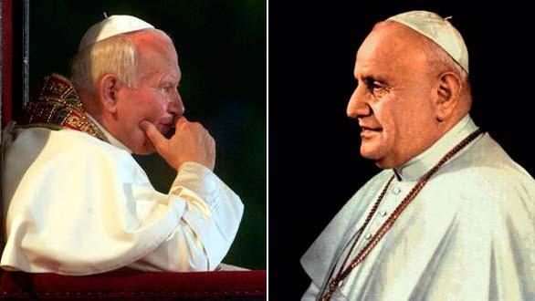 Los papas Juan Pablo II y Juan XXIII