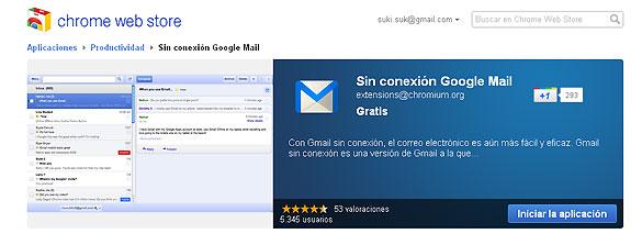 Para acceder al modo 'offline' en Gmail hay que instalarse una aplicación en la tienda de Chrome, el navegador de Google