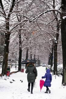 Un parque de Milán, en Italia, se prepara para su semana más gélida en 27 años.