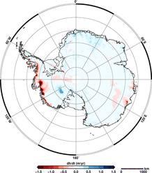 Pérdida de hielo en la Antártida.