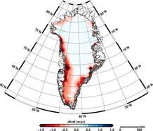 Pérdida de hielo en Groenlandia.