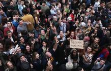Personas afines al movimiento protestan en Nueva York