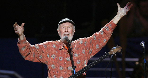 File photo of musician Pete Seeger singing Amazing Grace during a concert celebrating his 90th birthday   in New York