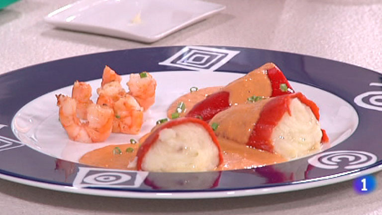 Cocina con Sergio - Pimientos rellenos de bacalao con langostinos