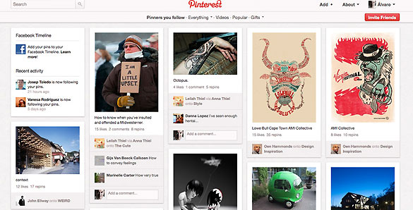 En Pinterest la portada del usuario se transforma en una especie de collage interminable con todas esas imágenes y vídeos.