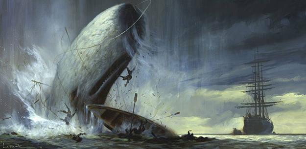 Pintura de Paul Lasaine para una película de animación de 'Moby Dick' producida por Dramworks, que no se llegó a rodar