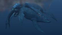 El pliosaurio, devorando a un plesiosaurio en los océanos.
