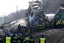 Polish emergency services work at the site of a train crash near the town of Szczekociny