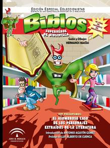 Portada de 'Biblos, superhéore de biblioteca', de los Hermanos Macías