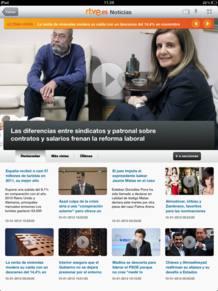 Portada de Noticias en la aplicación de iPad de RTVE.es