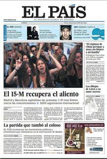 Portada de 'El País' en el primer aniversario del 15M