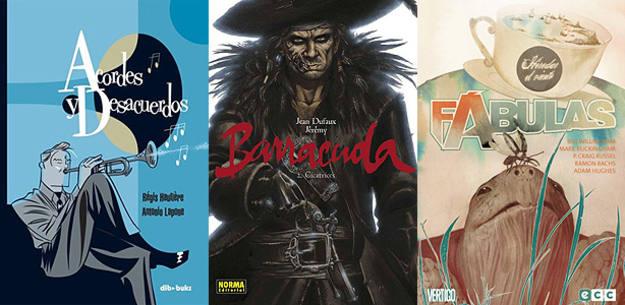 Portadas de 'Acordes y desacuerdos', 'Barracuda 2: Cicatrices' y Fábulas: Heredar el viento'