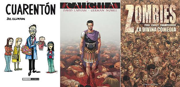 Portadas de 'Cuarentón', 'Calígula' y 'Zombies, la divina comedia'