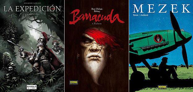 Portadas de 'La expedición', 'Barracuda' y 'Mezek'