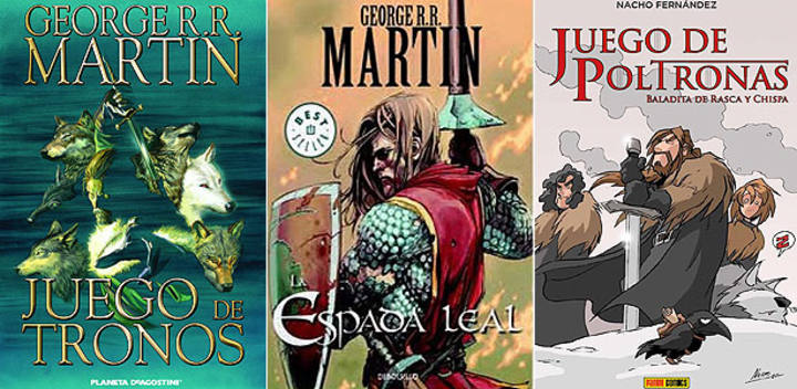Portadas de 'Juego de tronos', 'La espada leal' y 'Juego de poltronas'