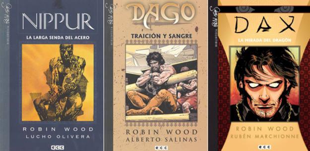 Portadas de 'Nippur', 'Dago' y Dax', de Robin Wood