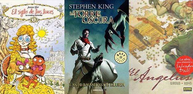Portadas de 'El siglo de las luces', de Joann Sfar; 'Las hermanitas de Eluria', de Stephen King y Peter David; y 'El Ángelus', de Giroud y Homs