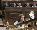 La portavoz del PP en el Congreso, Soraya Sáenz de Santamaría, al comienzo de la segu