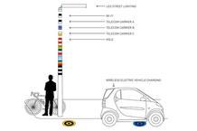 La altura de los postes puede ser variable; añadiendo nuevas piezas pueden participar varios proveedores de telecomunicaciones, o añadirse nuevas funciones. En la parte superior, bombillas LED que sirven de iluminación