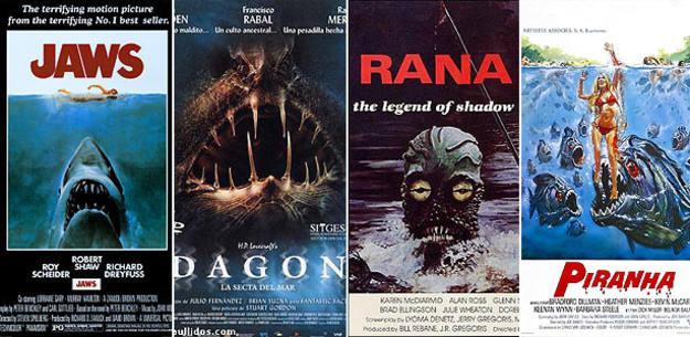 Pósters de algunas películas comentadas en 'Terror bajo las aguas', de Carlos burgaleta y José Luis Viruete