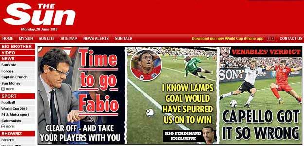 """""""No hay defensa posible"""", titula el rotativo 'The Sun', que asegura que a Inglaterra le robaron un gol"""